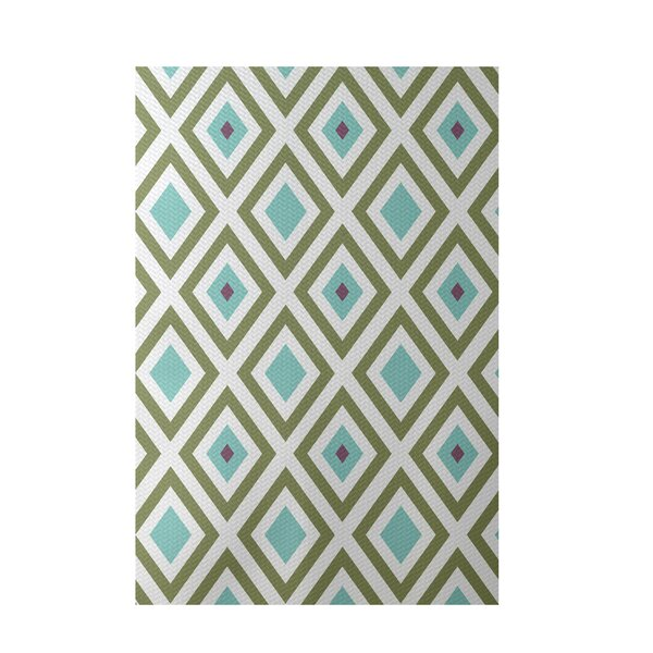 Geometric Aqua Indoor/Outdoor Area Rug by e by design