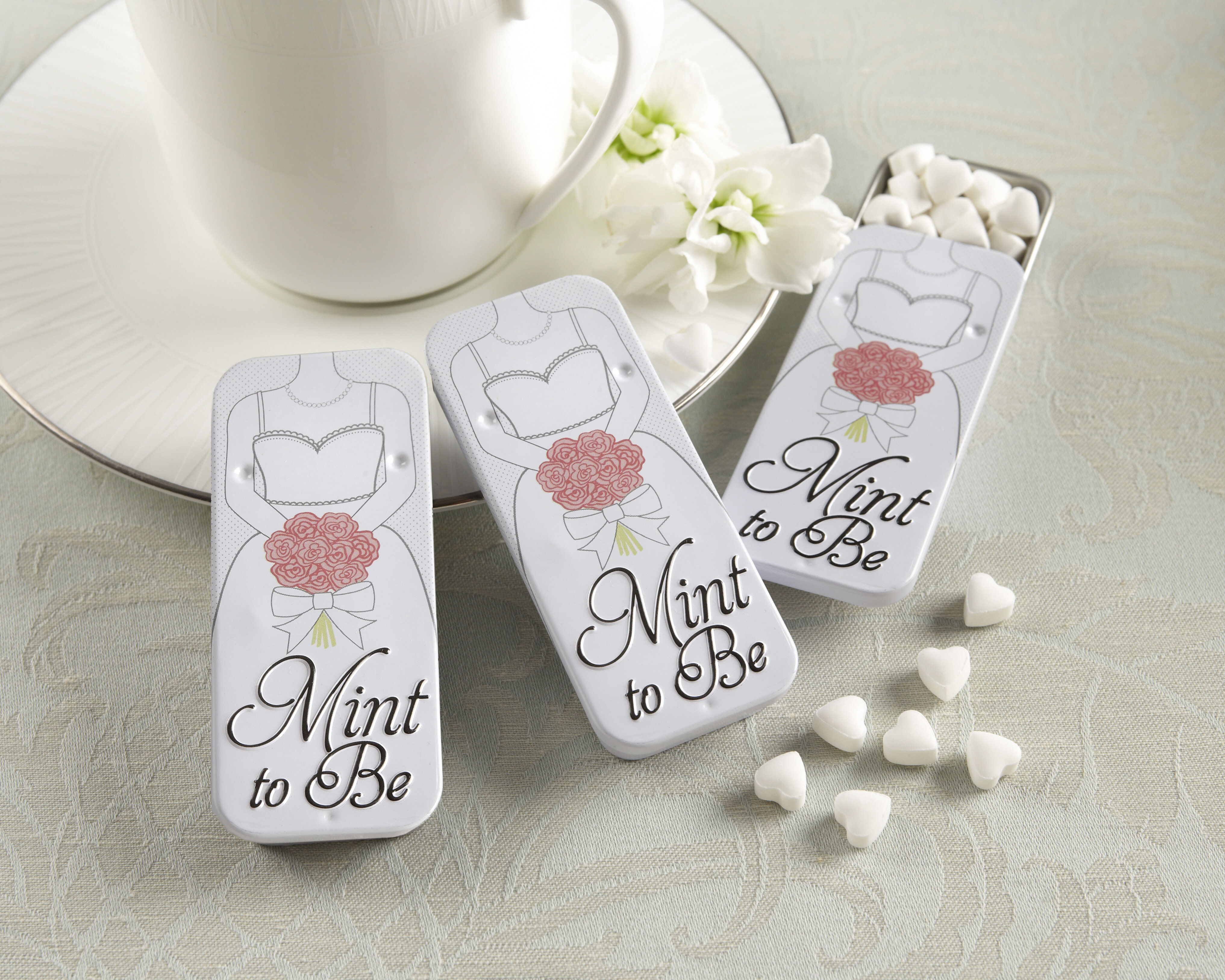 Kate Aspen Mint to Be Bride Slide Mint Tins with Heart Mints | Wayfair