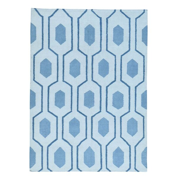Flat Weave Oriental Reversible Kilim Hand-Knotted Blue Area Rug by Ivy Bronx
