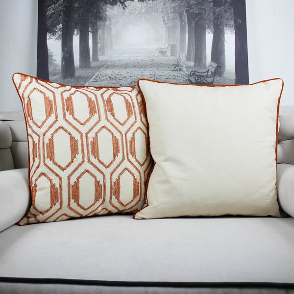 Cataldo Embroidery Cotton Throw Pillow by George Oliver