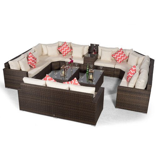 Villasenor Brown Rattan U Shape 8 Seat Sofa With 2 X Rectang