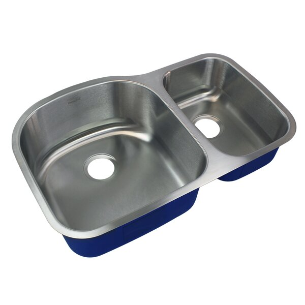 Meridian 32 L x 20 W Double Basin Undermount Kitchen Sink by Transolid