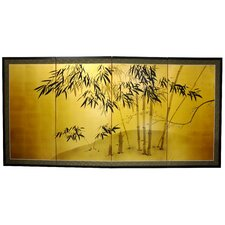 18 x 36 Gold Leaf Bamboo 4 Panel Room Divider by Oriental Furniture