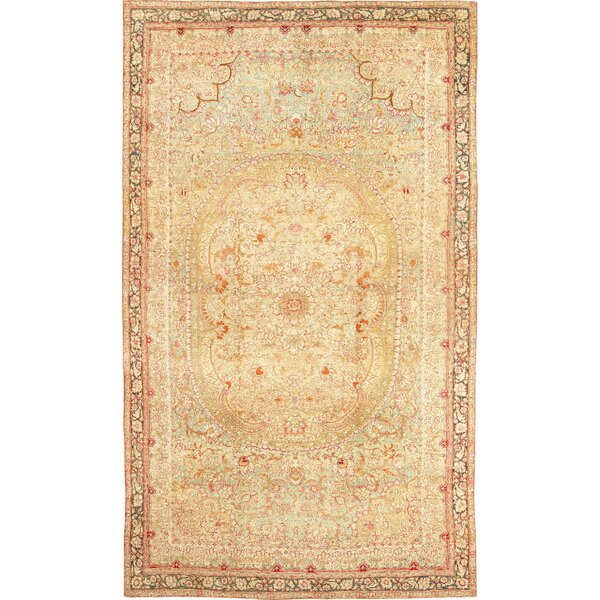 One-of-a-Kind Agra Hand-Knotted Before 1900 Red 10'8 x 18'3 Wool Area Rug