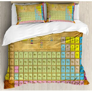 Periodic table bedding wayfair periodic table chemistry elements for classroom geek science lovers vintage style print duvet set urtaz Gallery