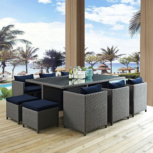 Tripp 11 Piece Dining Set with Cushions by Brayden Studio