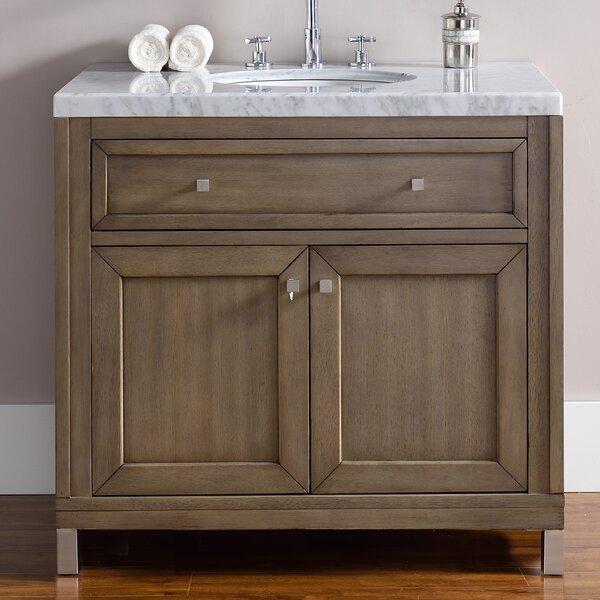 Valladares 36 Single White Washed Walnut Solid Wood Base Bathroom Vanity Set by Brayden Studio