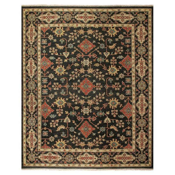 Carrickfergus Knotted Wool Black/Brown Floral Area Rug by Darby Home Co