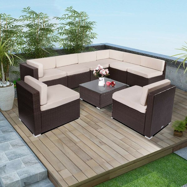 Cruzville 9 Piece Sectional Seating Group with Cushions by Ebern Designs