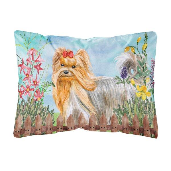 Lange Yorkshire Terrier Spring Indoor/Outdoor Throw Pillow by Winston Porter