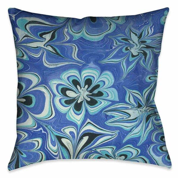 Hayhurst Blue Flower Marble Throw Pillow