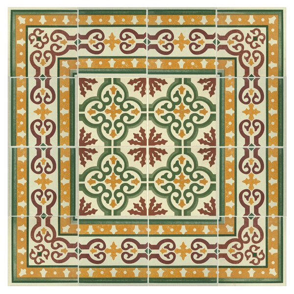 Cementa 7 x 7 Ceramic Tile in Gold/Green/Burgundy/White by EliteTile