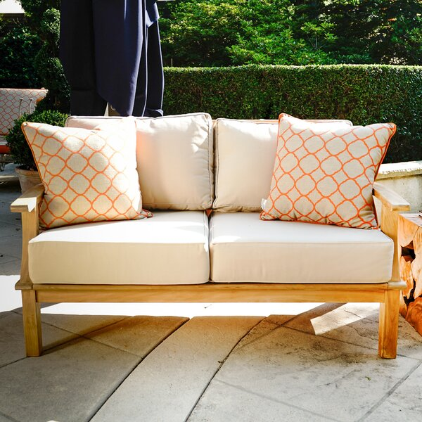 Galvan Teak Patio Sofa with Cushions by Rosecliff Heights Rosecliff Heights