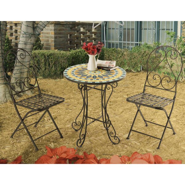 Arana New Mosaic 3 Piece Bistro Set by Fleur De Lis Living