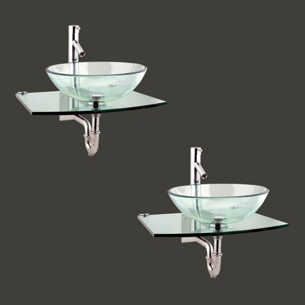 Metal/Glass 25 Wall Mount Bathroom Sink with Faucet (Set of 2)