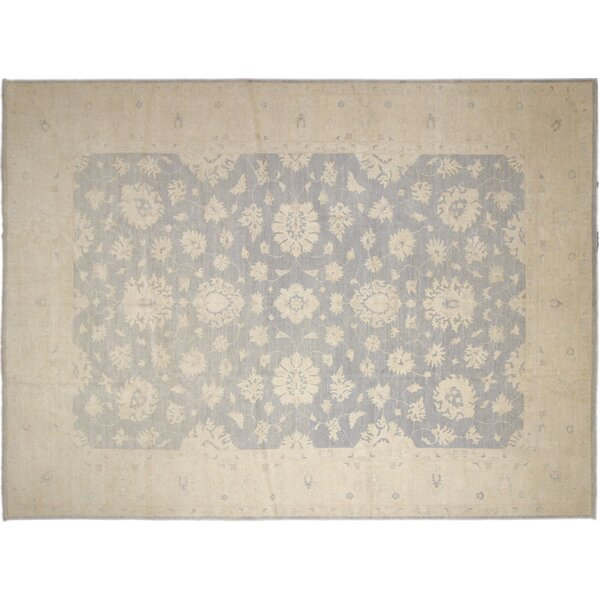 One-of-a-Kind Romona Faded Hand-Knotted Gray Wool Indoor Area Rug by Isabelline