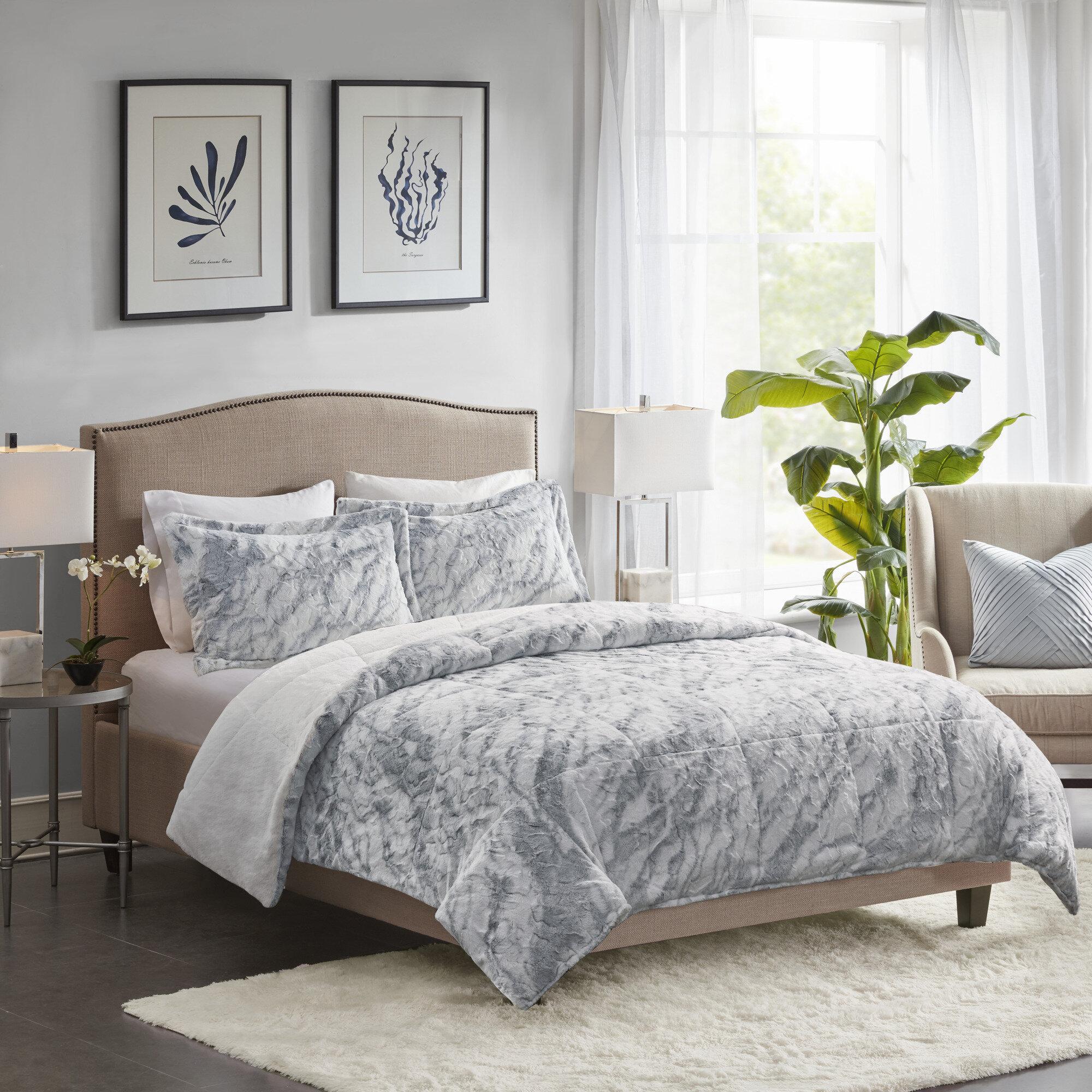 Foundry Select Corisande Marble Faux Fur Comforter Set Reviews Wayfair