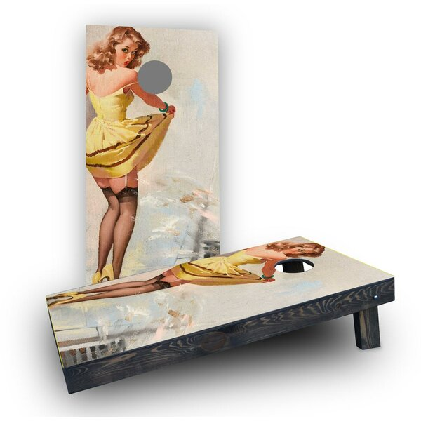 Yellow Pinup Girl Cornhole Boards (Set of 2) by Custom Cornhole Boards