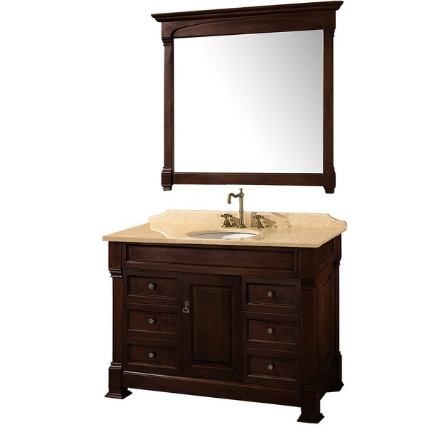 Andover 48 Single Dark Cherry Bathroom Vanity Set with Mirror by Wyndham Collection