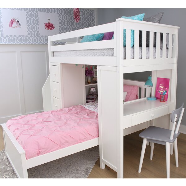 Desilets Twin Over Twin L-Shaped Bunk Bed with Shelves and Drawers by Harriet Bee