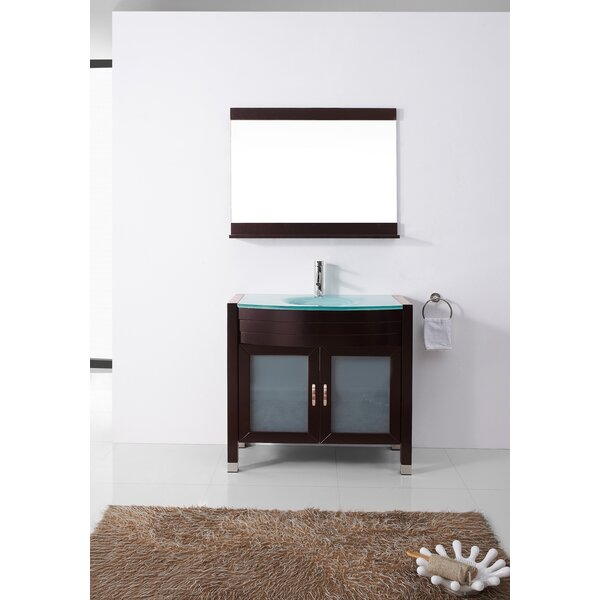 Carstarphen 35 Single Bathroom Vanity Set with Tempered Glass Top and Mirror by Mercury Row