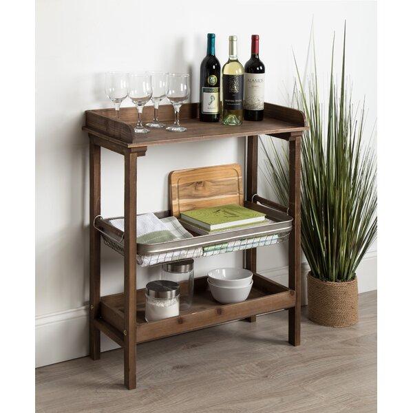 Eleni Farmhouse Chic Galvanized Storage Basket 3-Tier End Table By Gracie Oaks