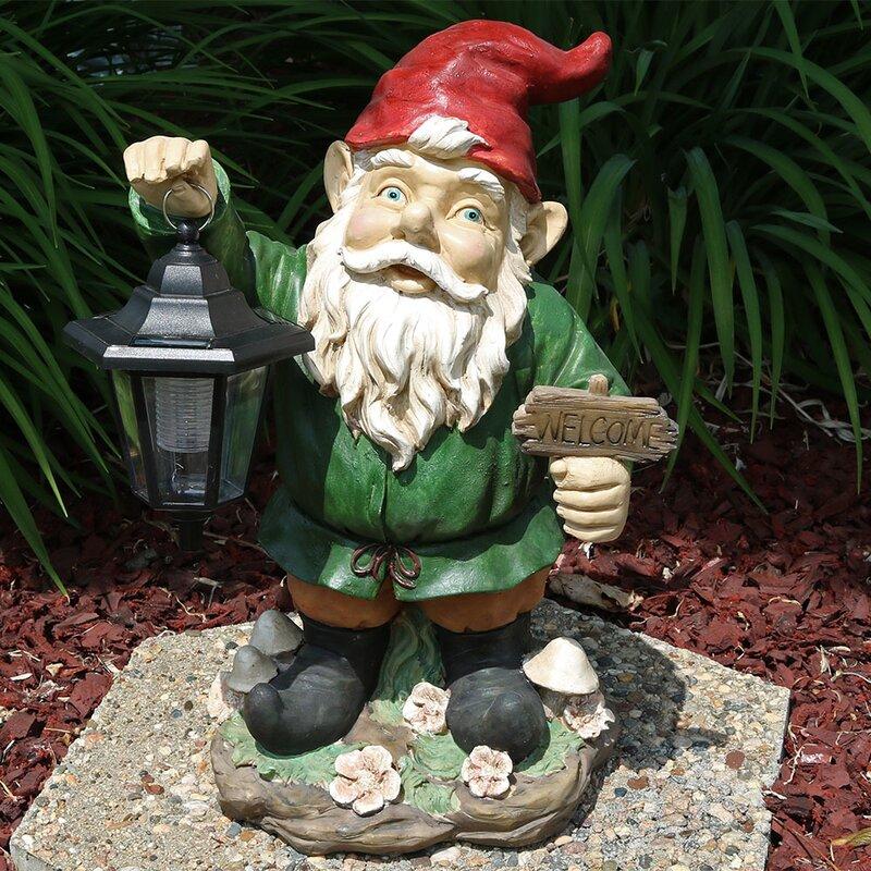 Solar Lantern Gnome Statue