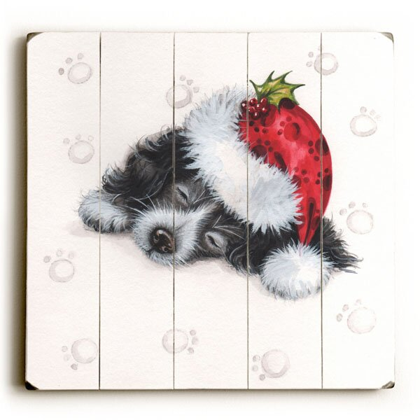 Sleeping Christmas Puppy Graphic Art Plaque by The