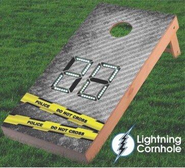 Electronic Scoring Police Line Cornhole Board by Lightning Cornhole