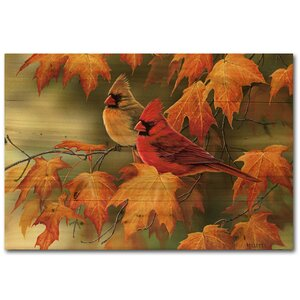 Maple Leaves and Cardinals by Rosemary Millette Graphic Art Plaque by WGI-GALLERY
