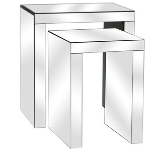 Lauritzen Beveled Mirror 2 Piece Nesting Tables