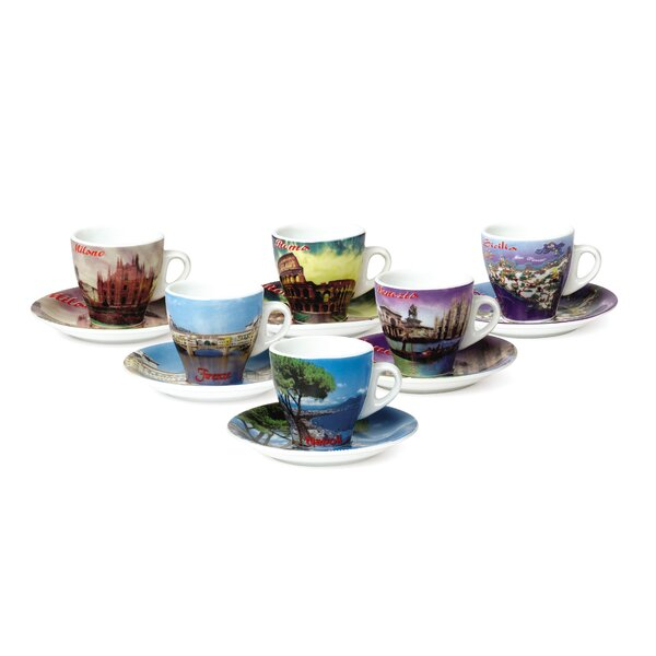 Porcelain Espresso Cup With The Cities Of Italy Set Of 6 By Lorren Home Trends.