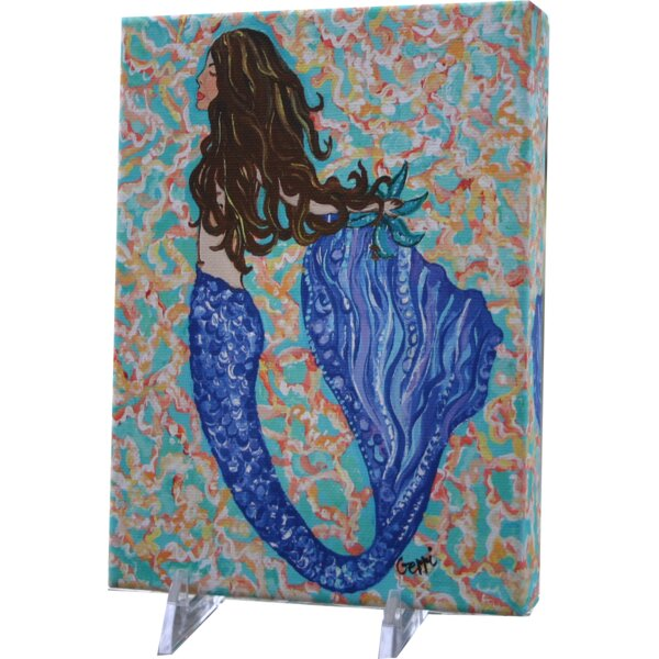 Mcleroy Brunette Mermaid Canvas Art by Rosecliff Heights