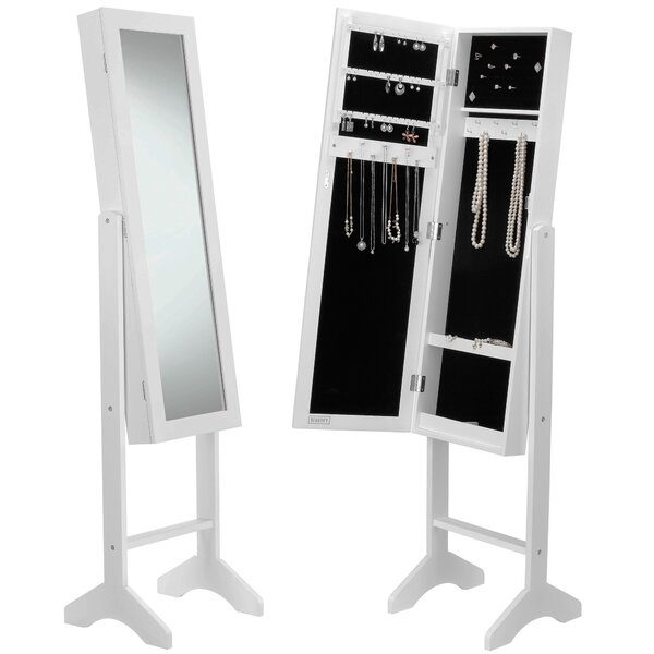 Mirrored Jewelry Armoire with Mirror by Beautify