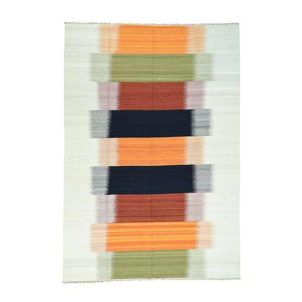 One-of-a-Kind Greenwalt Akstafa Hand-Knotted Red/Orange Area Rug by Bloomsbury Market