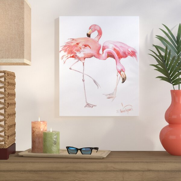 Flamingos Painting Print on Wrapped Canvas by Bay Isle Home