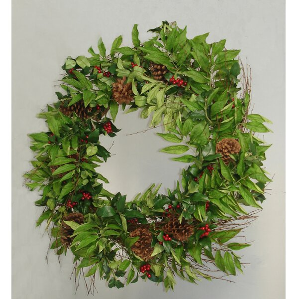 33 Artificial Holly Berry Sorbus and Pine Cone Christmas Wreath by Tori Home
