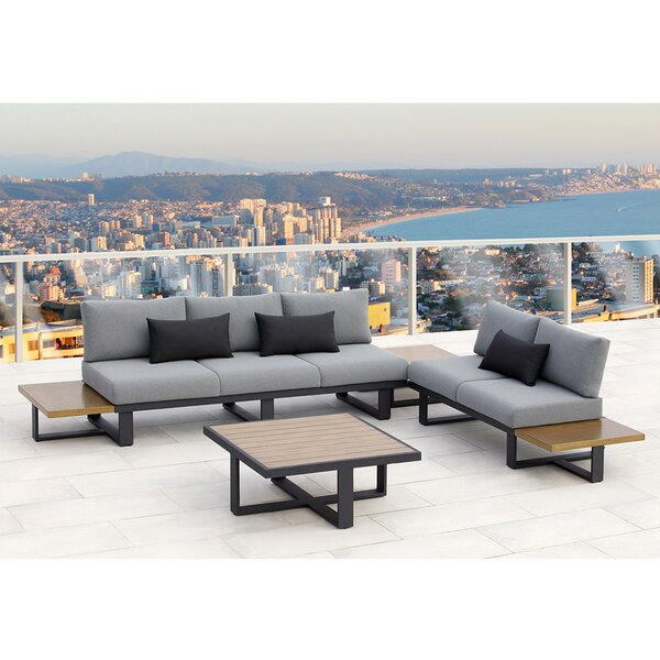Platform 4 Piece Sofa Set with Cushions by Ove Decors