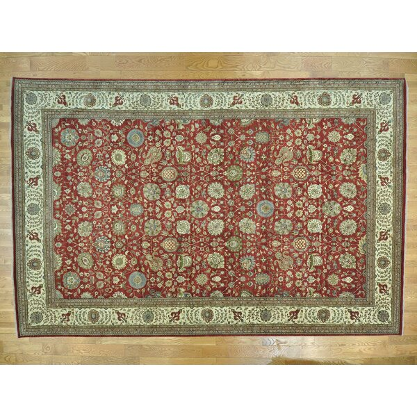 One-of-a-Kind Beason Antiqued Vegetable Dyes Handwoven Red Wool Area Rug by Isabelline