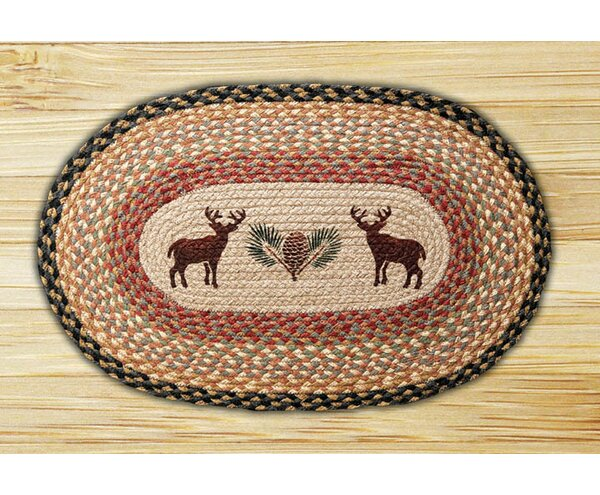 Deer/Pinecone Printed Area Rug by Earth Rugs