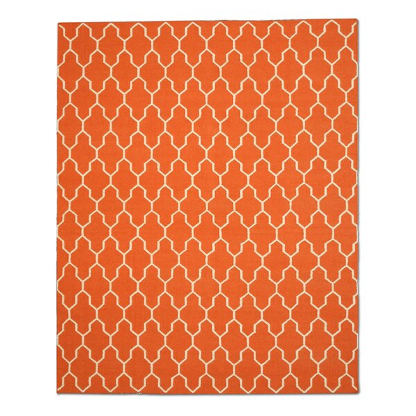 Hand-Woven Orange/Ivory Wool Area Rug by Eastern Rugs