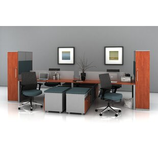 Trig Bench with Storage Towers Desk Office Suite