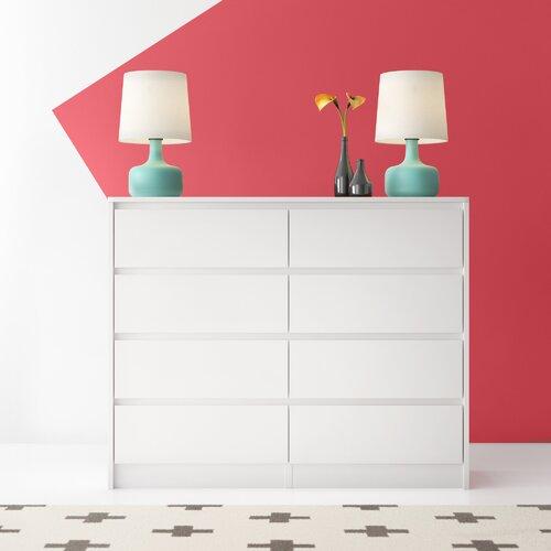 Barker Ridge 8 Schubladen Kommode Hashtag Home Größe: 97 x 138 x 40 cm  Farbe: Weiß   Schlafzimmer > Kommoden > Wäschekommoden   Hashtag Home