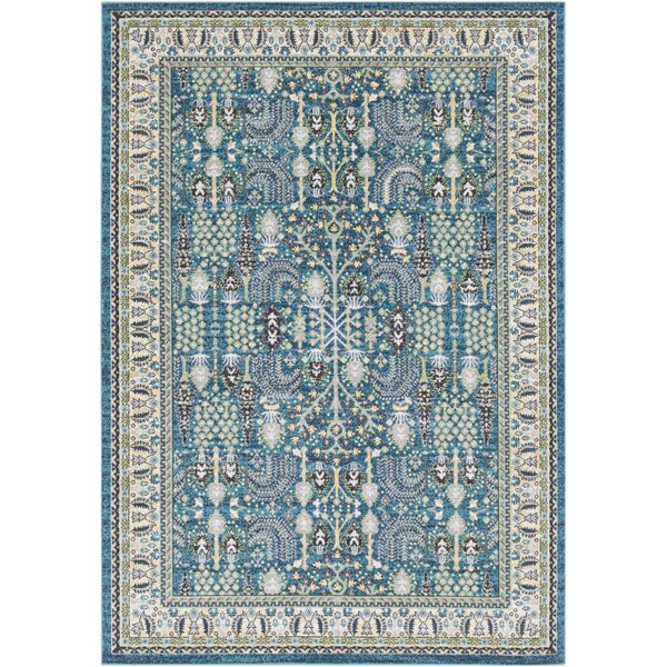 Riverbend Teal/Cream Area Rug by Bloomsbury Market