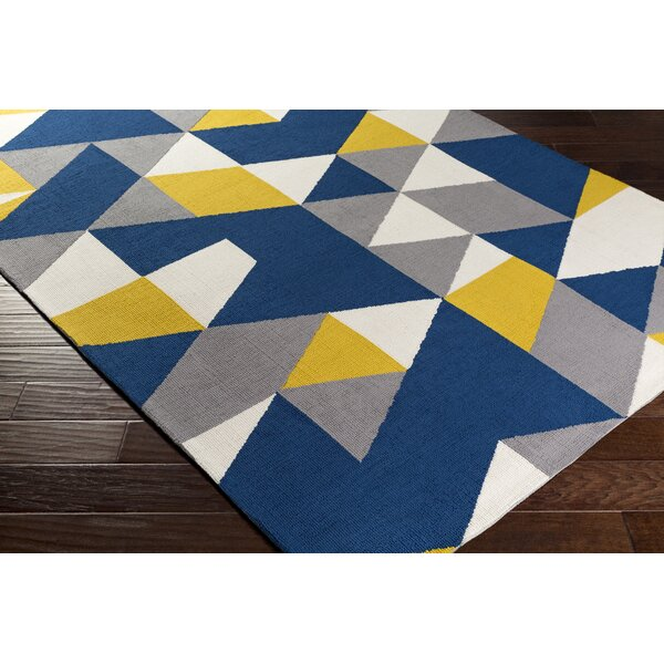 Block Hand Tufted Navy Area Rug by Wrought Studio