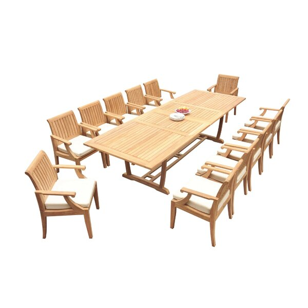 Galvez 13 Piece Teak Dining Set by Rosecliff Heights