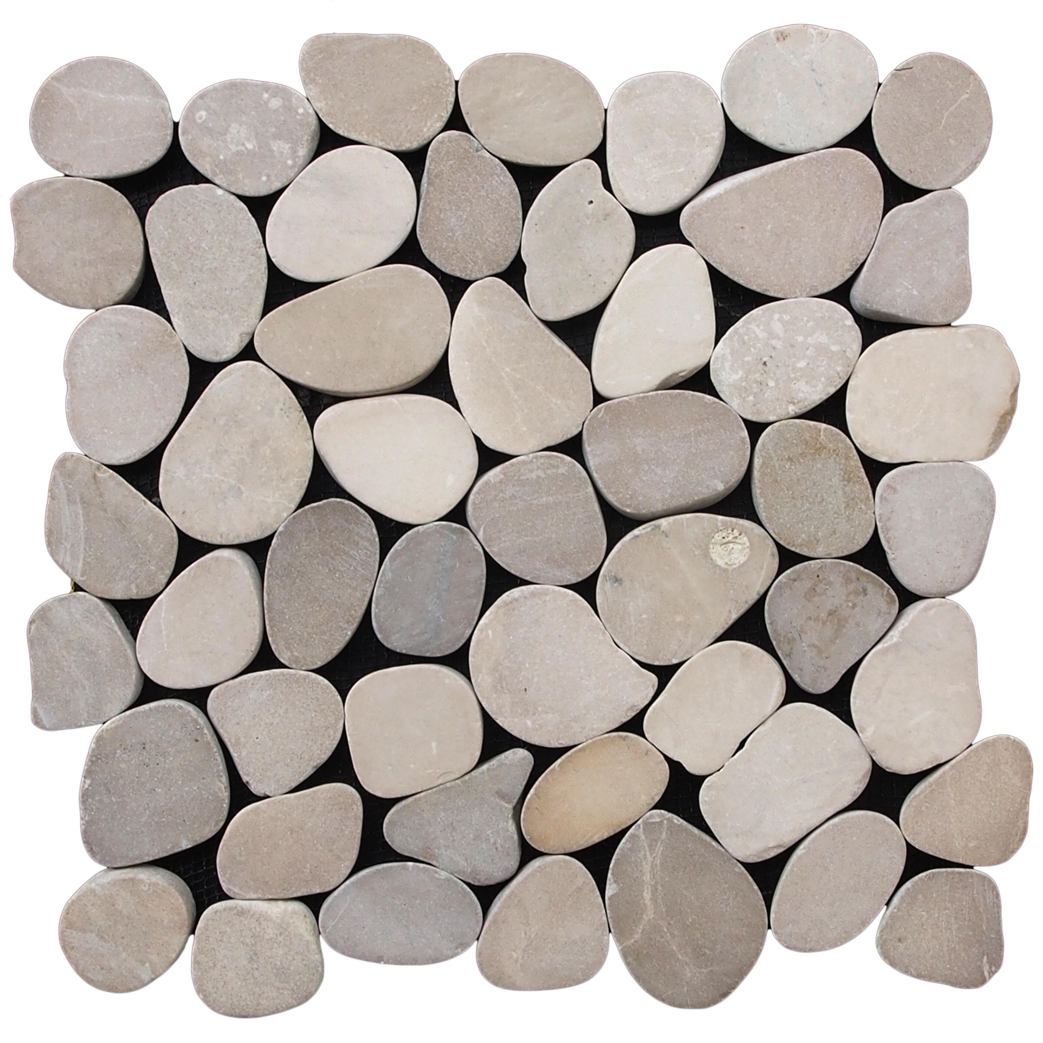 Pebble Tile Sliced Random Sized Natural Stone In Tan Reviews Wayfair