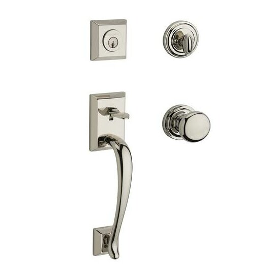 Napa Single Cylinder Handleset with Round Door Knob and Traditional Round Rose by Baldwin