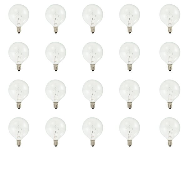 E12 Dimmable Krypton Globe Light Bulb (Set of 20) by Bulbrite Industries