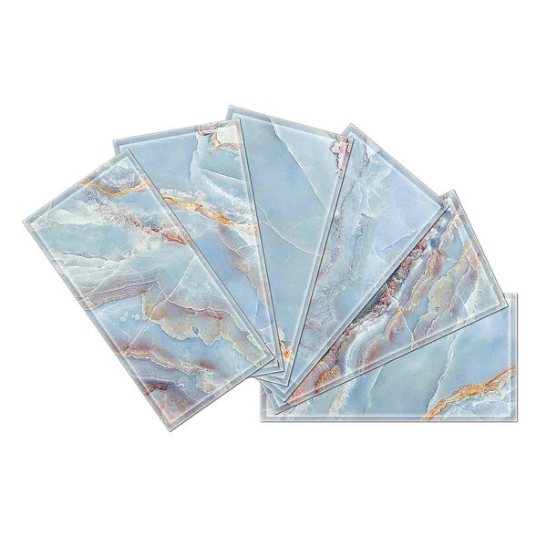 Crystal 3 x 6 Beveled Glass Subway Tile in Blue/Gray by Upscale Designs by EMA